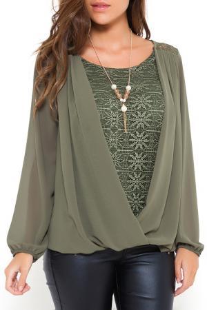 Блуза SHES SECRET SHE'S. Цвет: зеленый