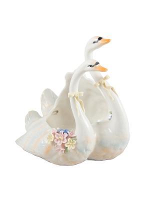 Шкатулка Лебединая верность Русские подарки. Цвет: белый, кремовый