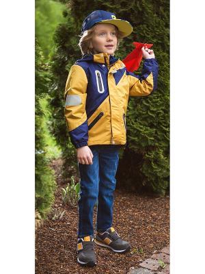 Куртка Oldos. Цвет: золотистый, синий