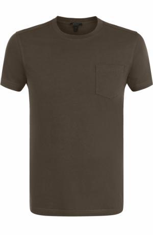 Хлопковая футболка с круглым вырезом Belstaff. Цвет: зеленый