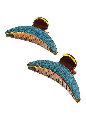 Комплект (Заколка краб - 2 шт.) Migura. Цвет: бирюзовый, коричневый