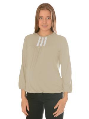 Блуза с кружевом Ням-Ням. Цвет: бежевый, белый