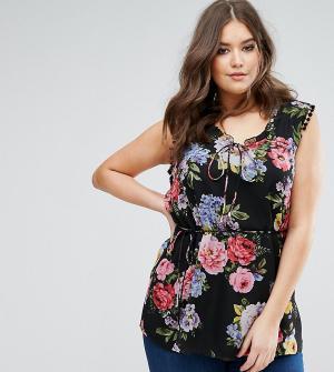 Koko Блузка с цветочным принтом и завязкой. Цвет: мульти