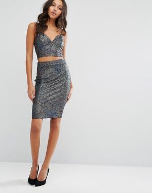 Lipsy Комбинируемая юбка миди с эффектом металлик из комплекта. Цвет: мульти