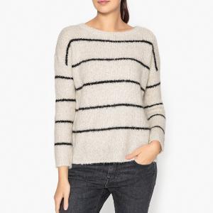 Пуловер с вырезом-лодочкой MELODIE HARRIS WILSON. Цвет: экрю/черный