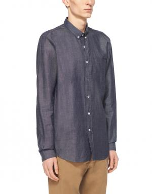 Рубашка из денима Ami. Цвет: серо-синий