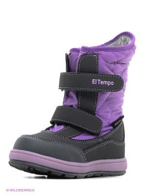 Дутики El Tempo. Цвет: сиреневый, серый