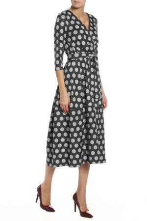 Полуприлегающее платье с поясом Alina Assi. Цвет: черный, белый