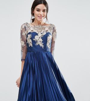 Chi London Petite Платье с длинными рукавами и плиссированной юбкой Petit. Цвет: розовый