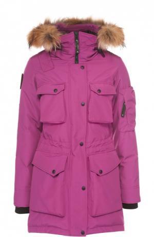 Парка с накладными карманами и меховой отделкой капюшона Arctic Explorer. Цвет: розовый