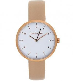 Часы из нержавеющей стали с кожаным ремешком Karen Millen