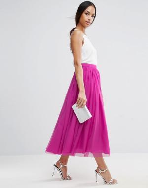 ASOS Многослойная юбка для выпускного из тюля. Цвет: красный