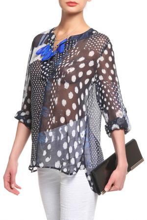 Блуза DIANE VON FURSTENBERG. Цвет: темно-синий, принт латки