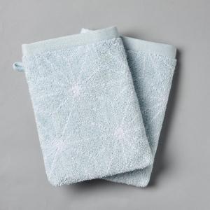2 банные рукавички со скандинавским рисунком, 500 г/м² La Redoute Interieurs. Цвет: синий