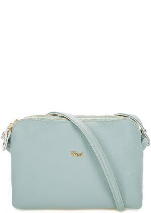 Кожаная сумка с тремя отделами Bruno Rossi. Цвет: голубой