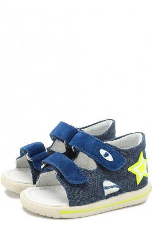 Текстильные сандалии с застежками велькро и замшевой отделкой Falcotto. Цвет: синий