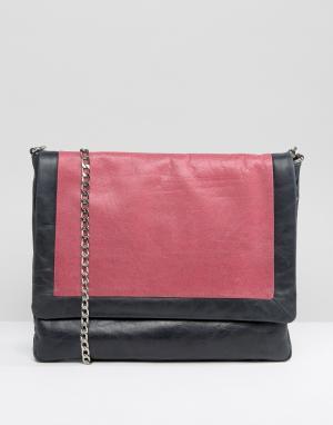 Urbancode Серая кожаная сумка колор блок. Цвет: темно-синий