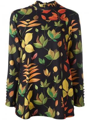 Блузка с принтом листьев Arthur Arbesser. Цвет: чёрный