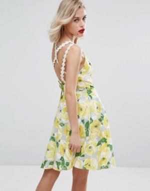 Horrockses Короткое приталенное платье из желтого хлопка с цветочным принтом Horr. Цвет: мульти