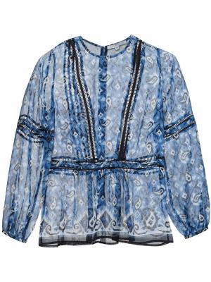 Блузка с узором Veronica Beard. Цвет: синий
