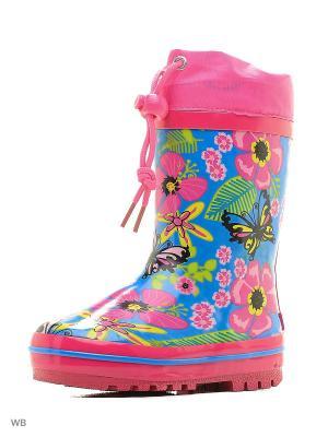 Сапоги Flamingo. Цвет: голубой, розовый