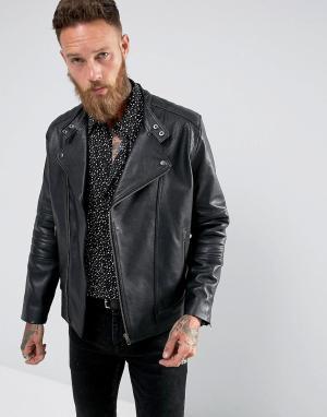 Black Dust Черная кожаная байкерская куртка Bubbla. Цвет: черный