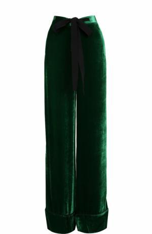 Бархатные широкие брюки с кружевными лампасами Elie Saab. Цвет: зеленый