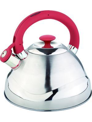 Чайник со свистком 3.0л. С силиконовой ручкой RAINSTAHL. Цвет: красный