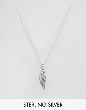 Kingsley Ryan Серебряное ожерелье с подвеской в форме крыла. Цвет: серебряный