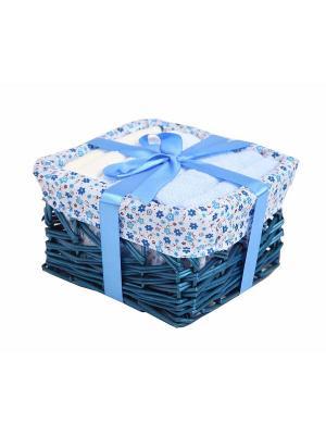 Набор салфеток в корзиночке 30х30 - 6 предметов La Pastel. Цвет: голубой, молочный