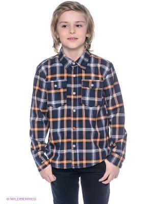 Рубашка NAME IT. Цвет: темно-синий, оранжевый