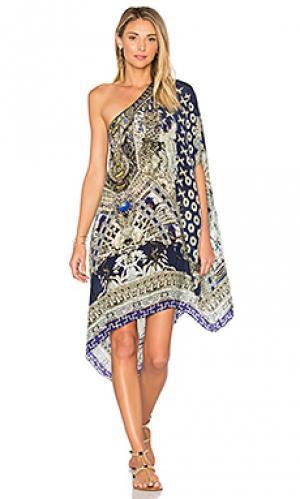 Короткое платье в восточном стиле с круглым вырезом Camilla. Цвет: синий
