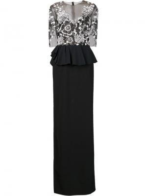 Длинное платье с декорированным топом Marchesa Notte. Цвет: чёрный