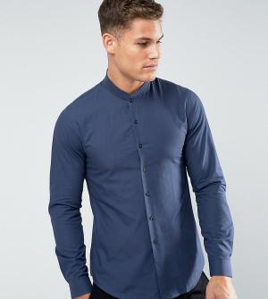 Noak Приталенная рубашка с воротником в рубчик. Цвет: темно-синий