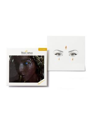 Клеящиеся кристаллы для лица Crystalzzz Drops in Gold Miami Tattoos. Цвет: золотистый