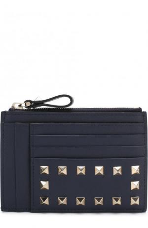 Кожаный футляр для кредитных карт  Garavani Rockstud Valentino. Цвет: темно-синий