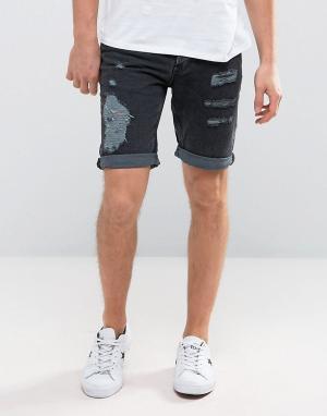 New Look Черные джинсовые шорты слим с рваной отделкой. Цвет: черный