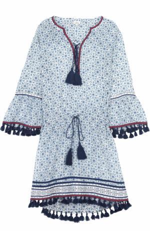 Туника с укороченным рукавом и декоративной отделкой Talitha. Цвет: голубой