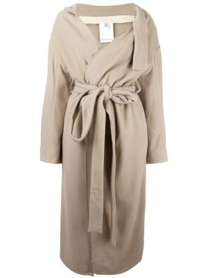 Длинное пальто с поясом Eckhaus Latta. Цвет: телесный