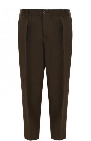 Укороченные брюки свободного кроя с поясом на резинке Marni. Цвет: темно-зеленый