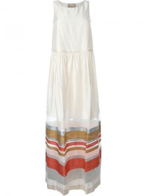 Платье с контрастными полосками Erika Cavallini. Цвет: телесный