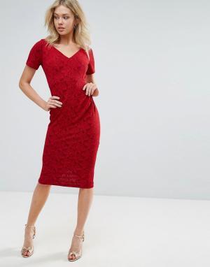 Vesper Платье миди с короткими рукавами. Цвет: мульти