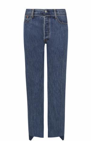 Укороченные джинсы с потертостями Vetements. Цвет: синий
