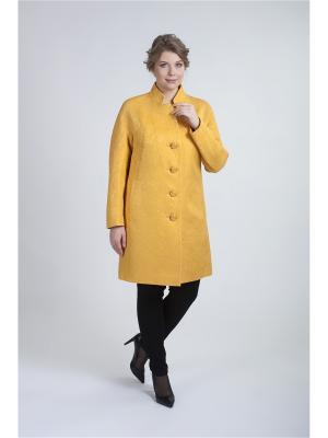 Пальто жаккард MODiCO. Цвет: желтый
