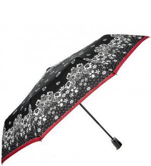 Черный складной зонт с системой антиветер Doppler. Цвет: черный