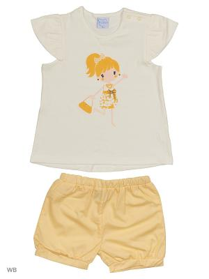 Футболка и шорты Cutie Bear. Цвет: белый, желтый