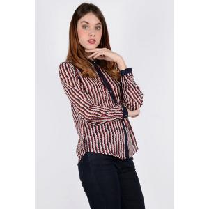 Блузка с воротником-поло и длинными рукавами MOLLY BRACKEN. Цвет: бордовый в темно-синюю полоску