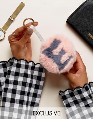 My Accessories Брелок для ключей с помпоном из искусственного меха. Цвет: розовый