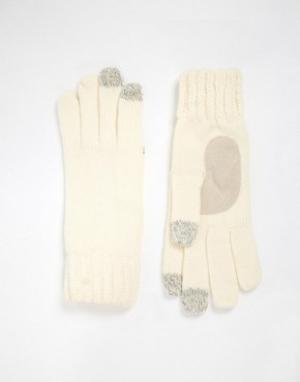 Totes Вязаные перчатки с накладками для сенсорных экранов на 3 пальцах. Цвет: кремовый