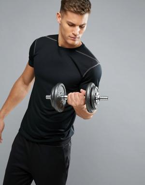 New Look Черная футболка с сетчатой вставкой SPORT. Цвет: черный
